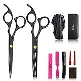 10Pcs Hair Cutting Scissors Set, Professional Haircut Scissors Kit with Cutting Scissors,Thinning Scissors, Comb,Cape, Clips, Black Hairdressing Shears Set for Barber, Salon, Home