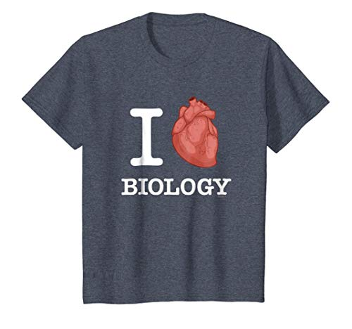 Kids I Love Biology T-Shirt White, Anatomical Heart Tee Shirt 8 Heather Blue