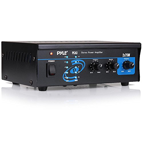 Home Audio Power Amplifier System - 2X75W Mini Portable Dual Channel Surround Sound Stereo Receiver Box w/ LED - For Amplified Subwoofer Speakers, CD DVD Player, Theater via 3.5mm RCA - Pyle PCA3