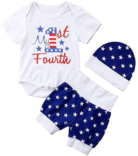 My First 4th of July Newborn Baby Boy Outfits American Flag Summer Romper Pants Independence Day 2PCS Set (Blue, 12-18 Months)