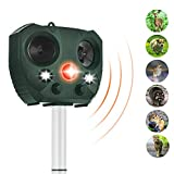 ZOVENCHI Solar Powered Ultrasonic Animal Repeller,Outdoor Waterproof with Motion Activated & LED Lights, Repel unwanted Animal: Cats and Dogs, Squirrels,Raccoons, Foxes, Skunks, Rabbit,etc.