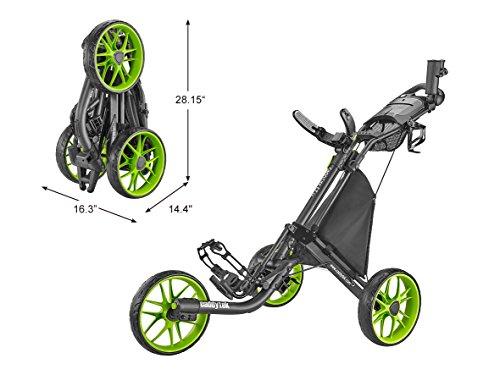 CaddyTek Caddylite EZ V8 - EZ-Fold 3 Wheel Golf Push Cart Version 8, Lime