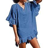 ℱLOVESOOℱ Women Casual Chiffon Blouse Dress Summer V-Neck Petal Sleeve Bathing Suit Smock Loose T Shirt Beach Skirt Blue