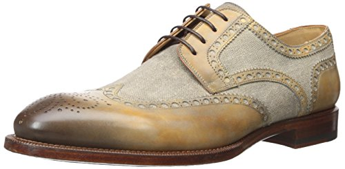 41GRDraFVYL Wingtip derby shoe featuring mixed-media upper with burnished medallion toe Pinking and brogue perforations