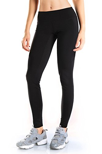 "Yogipace Petite/Regular/Tall,Women's Water Resistant Fleece Lined Thermal Tights Winter Running Cycling Skiing Leggings with Zippered Pocket,28"",Black,Size XL"