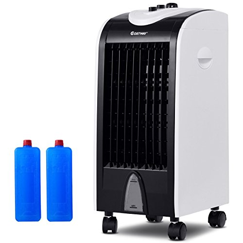 COSTWAY Air Cooler, Portable Evaporative Air Cooler with Fan & Humidifier Bladeless Quiet Electric Fan w/Remote Control for Indoor Home Office Dorms (24')
