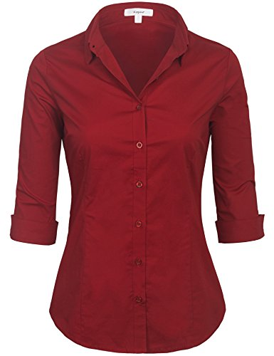 Image result for KOGMO Womens Classic Solid 3/4 Sleeve Button Down Blouse Dress Shirt