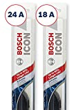 Bosch ICON Wiper Blades (Set of 2) Fits 2008-03 Toyota Corolla; 2018-05 Nissan Frontier; 2015-07 Kia Optima & More, Up to 40% Longer Life