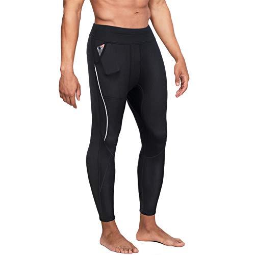 Wonderience Men Neoprene Slimming Pants for Weight Loss Hot Thermo Sauna Sweat Capri Fitness Workout Body Shaper (Black#4 Pants, XL)