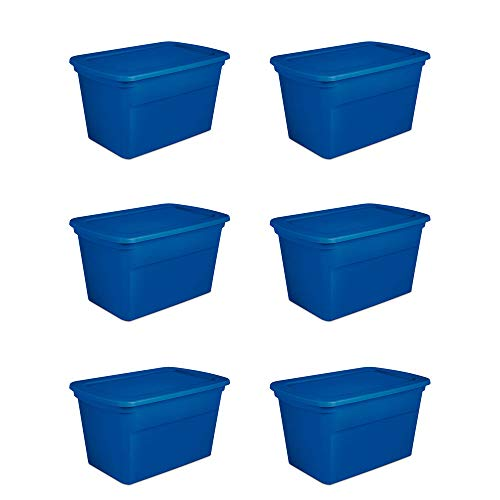 Sterilite 30 Gallon Heavy Duty Stackable Storage Tote, Blue Morpho (6 Pack)