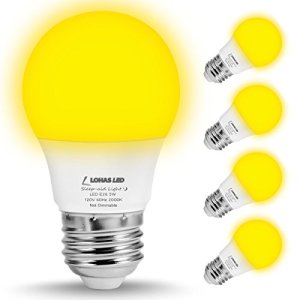 LOHAS A15 LED Bulb, Yellow LED Bug Light Bulbs, 40W Equivalent E26 Edison Bulb(5W), 450 Lumens Porch Lights Non-Dimmable, Warm White LEDs for Home Lighting Decorative Outdoor Indoor Lamps(4 Pack)