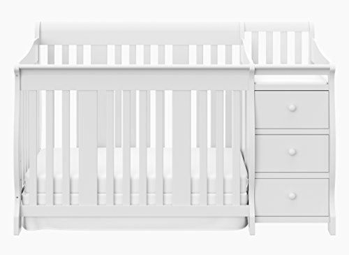 Storkcraft Portofino 4 in 1 Fixed Side Convertible Crib Changer, White, Easily Converts to Toddler Bed Day Bed or Full Bed, Three Position Adjustable Height Mattress (Mattress Not Included)