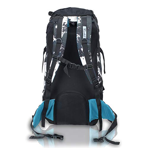 41GadamZ iL - Trunkit Waterproof Rucksack Travelling Trekking Hiking with Raincover (White Black, 65 L)