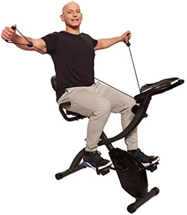 Original As Seen On TV Slim Cycle Stationary Bike - Folding Indoor Exercise Bike with Arm Resistance Bands and Heart Monitor - Perfect Home Exercise Machine for Cardio 1