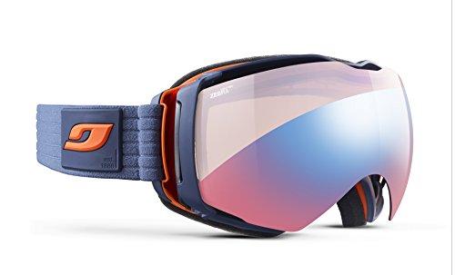 Julbo Aerospace Photochromic Snow Goggles with Ultra Venting Superflow Technology No Fogging - Zebra Light Red - Military Blue/Orange