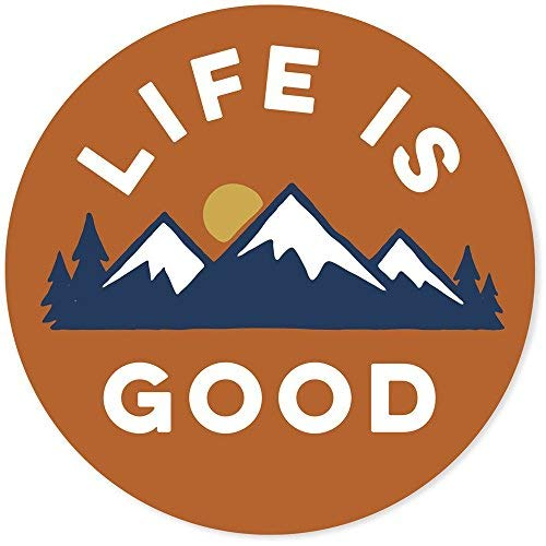 "Life is Good. 4"" Circle Sticker - LIG Mountains - Deep Orange"