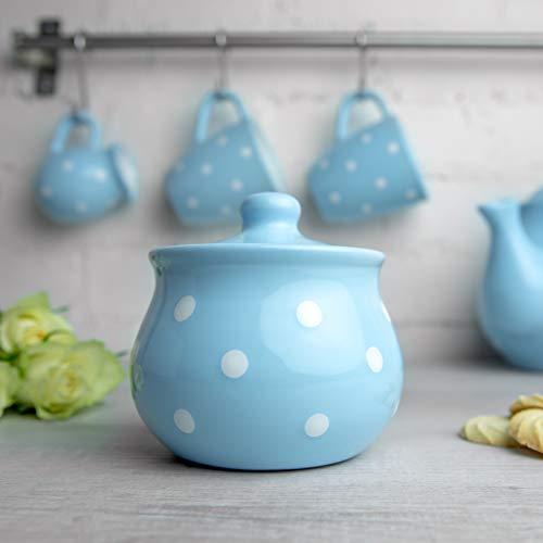 Sky Blue Polka Dot Sugar Bowl