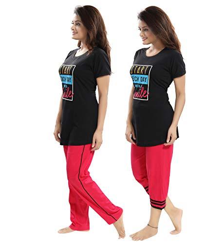 "TUCUTE Women/Girls Cotton Hosiery 3 pcs Top, Pajama & Capri Nightwear/Nighty/Nightsuit/Loungewear/Nightsuit (Top,Pajama & Capri) Size: Large=38"" XL-40 & XXL-42 3"