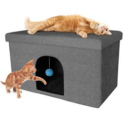 Furhaven Pet Dog Bed – Collapsible Popup Multipurpose Living Room Ottoman Footstool & Felt Pet House Cave Cubby for Cats & Small Dogs – Available in Multiple Colors & Styles
