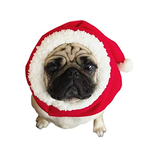 Stock Show Pet Christmas Costume Hat Dog Cat Winter Warm Soft Red Santa Hat with White Pom-pom Decor Holiday Headdress Xmas Festival Party Dressup Costume Accessory for Small Medium Large Dog Cat 1