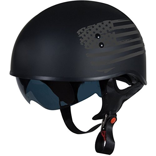 TORC Unisex-Adult T55 Spec-Op Motorcycle Half Helmet with Graphic and Drop-Down Sun Visor (Flag)) (Flat Black X-Large