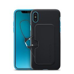 ThinOptics Reading Glasses + iPhone X Case | Black/Blue Fortify Case, 2.50 Strength