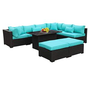 Outdoor Pe Wicker Rattan Furniture Set 9 Piece Patio Garden Sectional Sofa Chair With Cushion