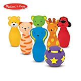 Melissa & Doug Bowling Friends Preschool Play Set, 6-Pin Bowling Game with Carrying Case (Weighted Bottoms, 7 Pieces, 9' H x 8.5' W x 7' L)
