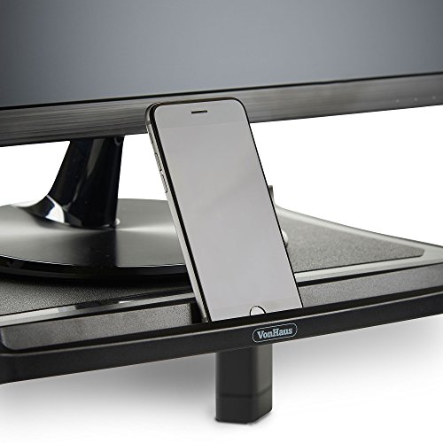 41GlvxGqaTL - VonHaus Height Adjustable Monitor Stand for Desks - Screen Riser for Computers, Laptops & TVs - With Cable Management & Pen Storage