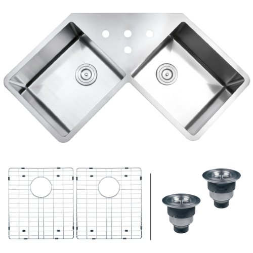 "Ruvati RVH8400 Undermount Corner Kitchen Sink 16 Gauge 44"" Double Bowl, Stainless Steel"