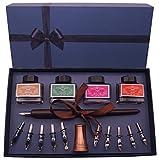 Plotube Calligraphy Pen Set – Includes Wooden Dip Pen, Antique Holder, 11 Nibs, 4 Ink Bottle