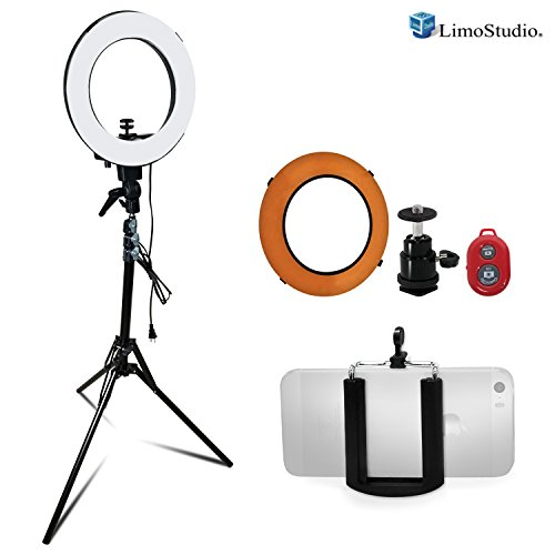 LimoStudio 14 inch Diameter Dimmable Continuous Round Ring Light, for Beauty Facial Shoot, Light Stand Tripod, Cell Phone Spring Clip Holder, Camera Adapter, Photo Studio, AGG2418V4