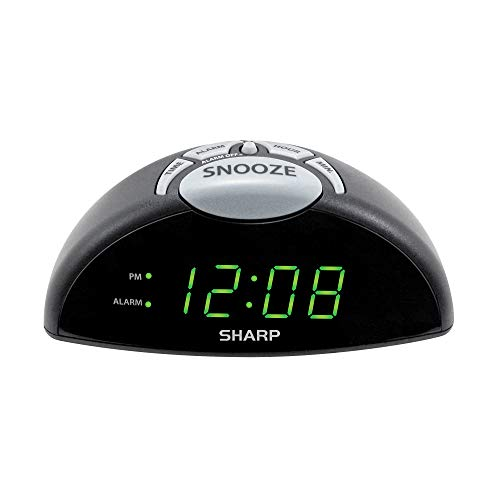 Sharp Digital Alarm Clock - Easy to See Green LED Display – Simple to Use Controls– Stylish Design, Simple Operation - Battery Backup