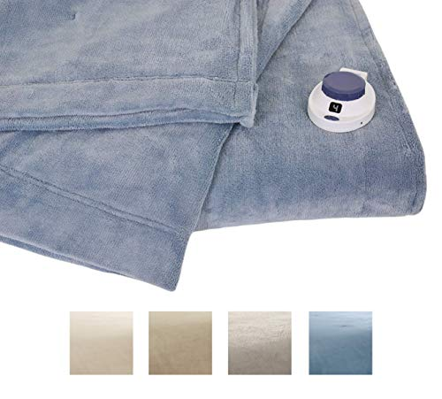 Serta | Luxe Plush Fleece Heated Electric Blanket with Safe & Warm Low-Voltage Technology King Sapphire