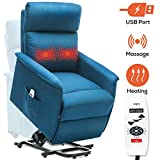 ERGOREAL Power Lift Recliner for Elderly Electric Lift Chairs with Heat and Massage Fabric Lift Chair with USB Port and Side Pocket (Blue Green)
