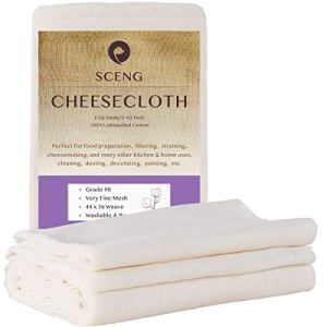 Cheesecloth, Grade 90, 72 Sq Feet, 100% Unbleached Cotton Cheesecloth, Ultra Fine Reusable Cheesecloth for Cooking, Straining (Grade 90-8Yards)