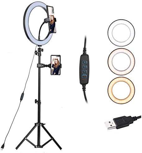 SXIYA LEDリングライト 外径10.2 inch 撮影用ライト USB給電 自撮りライト 自撮りスタンド 化粧ライト 補助光 10段階調光 3モード 撮影 照明 撮影キット コンパクト 軽量 角度調整 美顔 SNS ライブ 生放送 Youtube ニコ生 tiktok インスタ スマホホルダー・雲台付き