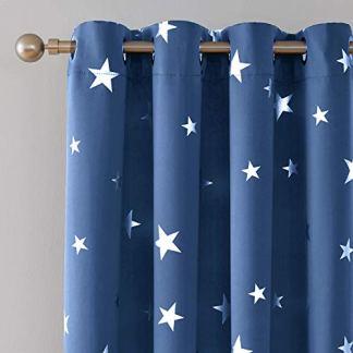 Deconovo Tende Oscuranti Termiche Isolanti con Occhielli e Stelle per Cameretta Bambini Blu 140x240cm Due Pannelli