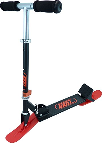 Railz Youth Recreational Snow Kick Scooter - Black & Red, Best Youth Compact Kick SnowScooter, Best Winter Toys, Sled, Scoot, Fold-up, Ski
