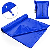 The Friendly Swede Sleeping Bag Liner - Travel and Camping Sheet, Pocket-Size, Ultra Lightweight, Silky Smooth (Cobalt with Velcro)