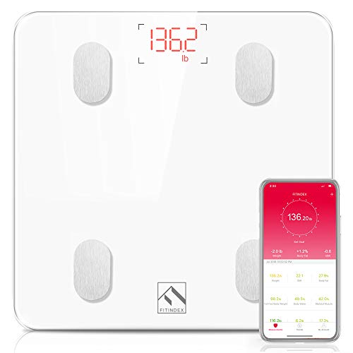 Bluetooth Body Fat Scale, FITINDEX Smart Wireless Digital Bathroom Weight Scale Body Composition Analyzer Health Monitor with iOS & Android APP for Body Weight, Fat, Water, BMI, BMR, Muscle Mass