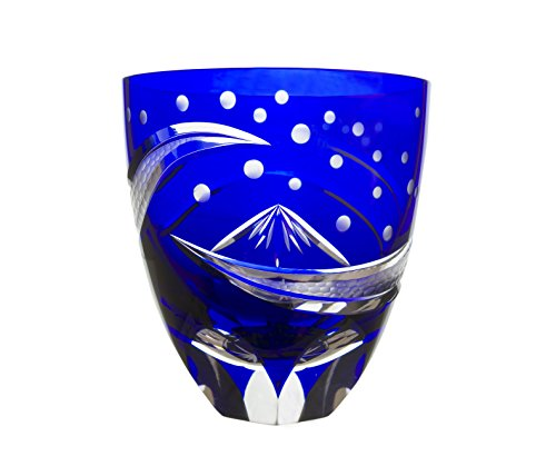 SHimizu Glass workshop Japanese traditional crafts, Edo Kiriko Old Fashioned Glass Mt.Fuji by Hokusai (Blue)