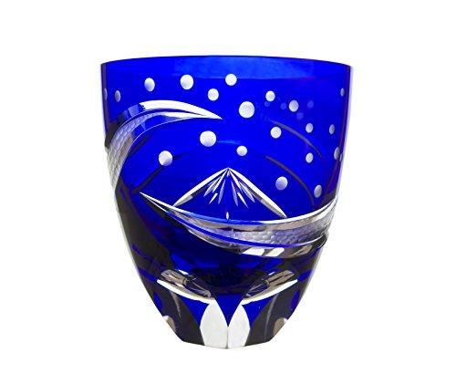 SHimizu Glass workshop Japanese traditional crafts, Edo Kiriko Old Fashioned Glass Mt.Fuji by Hokusai (Blue)