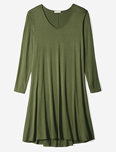 41H36n nEoL A versatile long-sleeve dress is distinguished with a V-neckline and flared silhouette that easily transitions from day to night Luxe Jersey - Perfectly rich, smooth fabric that beautifully drapes Slightly dropped hem, seamed back