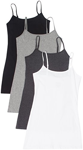 4 Pack Active Basic Women's Basic Tank Tops,Small,White/Charcoal/Black/H Gray