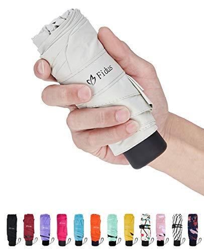 Fidus Mini Compact Sun&Rain Travel Umbrella - Lightweight Portable Umbrella with 95% UV Protection-Creamy White