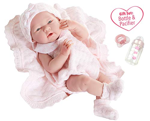 JC Toys La Newborn All-Vinyl-Anatomically Correct Real Girl 15' Baby Doll in Pink Knit Outfit and Accessories, Designed by Berenguer.