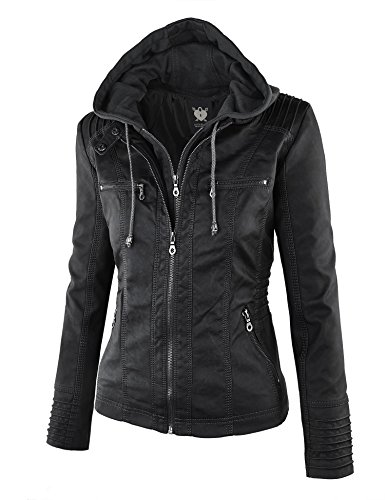 Lock and Love Women's Hooded Faux Leather Moto Biker Jacket (XS~2XL) 2 Fashion Online Shop gifts for her gifts for him womens full figure