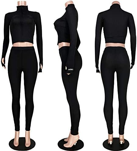Adogirl Womens Fall Rib-Knit Pullover Sweater Top & Long Pants Set 2 Piece Outfits Tracksuit 6