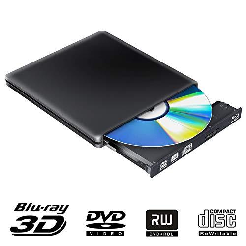 External Blu Ray DVD Drive 3D 4K,Bluray Disc USB 3.0 Burner Reader Slim BD CD DVD RW ROM Writer Player for iMac PC Laptop MacOS Windows 7 8 10 XP